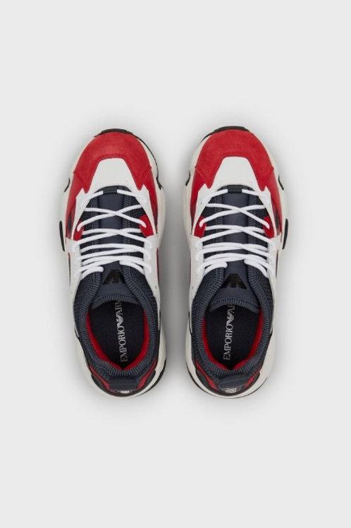 EMPORIO ARMANI Sneakers ROUGE en cuir avec empiècements en néoprène