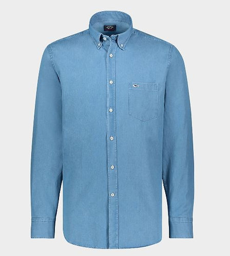 PAUL&SHARK: Chemise en coton denim LIGHT BLUE
