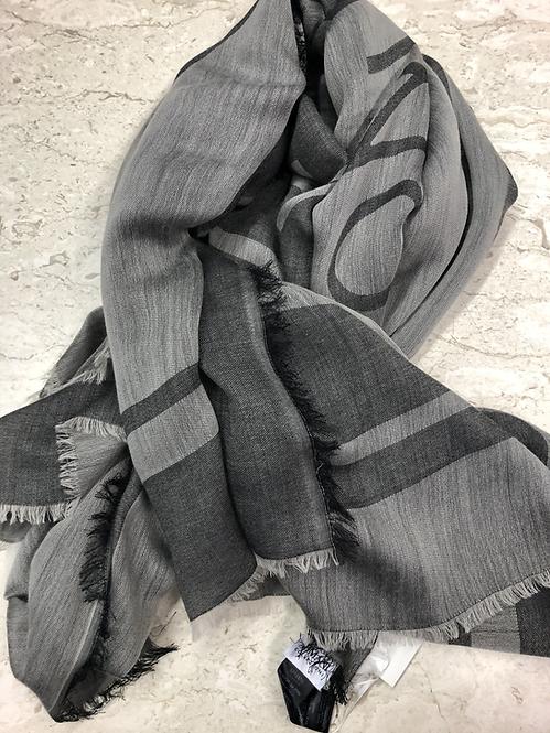 ARMANI: Grande Echarpe en laine, Grise 42048e