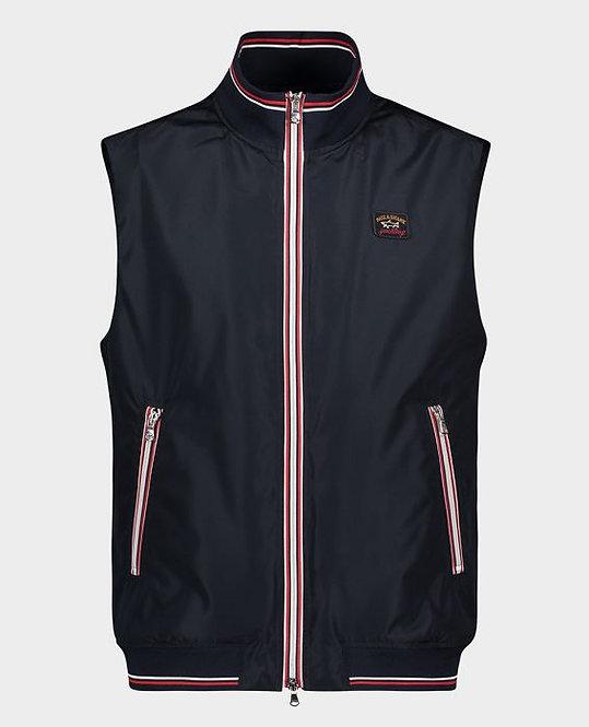 PAUL&SHARK: Gilet NAVY avec bords tricotés avec zip contrasté 11144