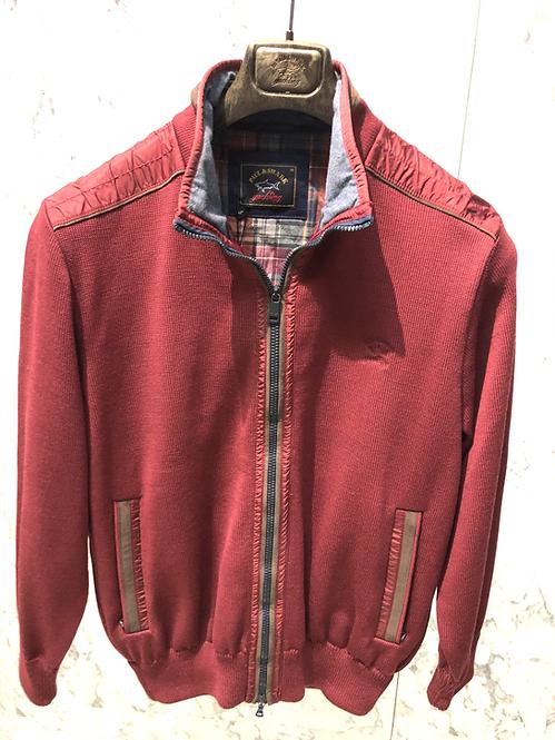 PAUL&SHARK: Cardigan,doublé avec poches, laine water-reppelent, Bordeaux, 72271B