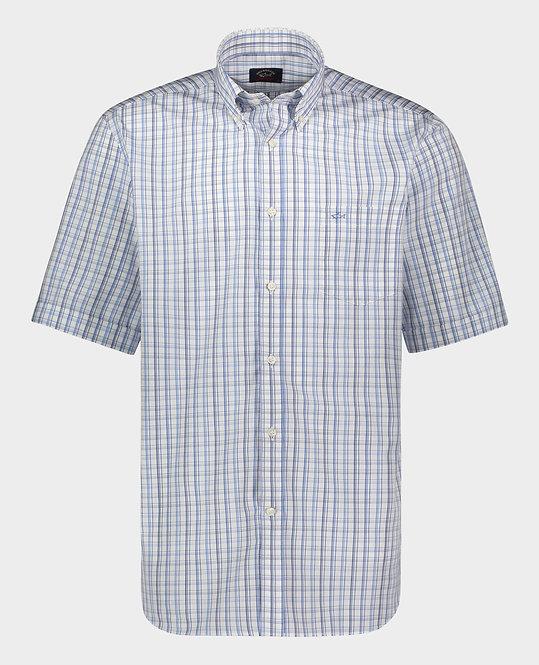 PAUL&SHARK: chemise manches courtes,avec carreaux multi, 11149B