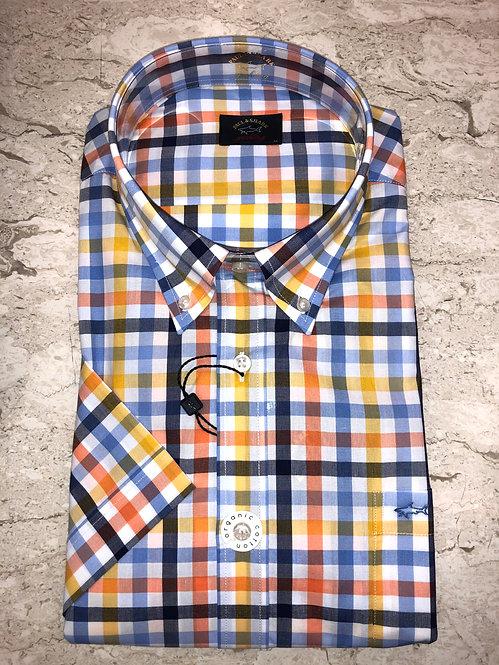 PAUL&SHARK: chemise manches courtes,avec carreaux multi, 11149