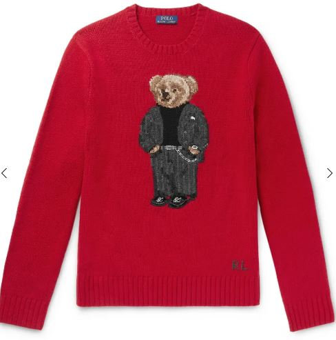 Polo Raplh Lauren Bear Intarsia Cotton Sweater RED