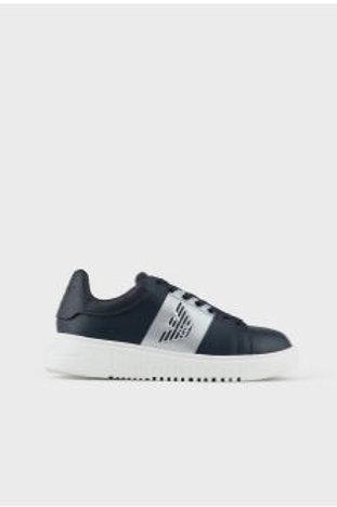 EMPORIO ARMANI Sneakers en sergé NAVY avec aigle latéral 02141