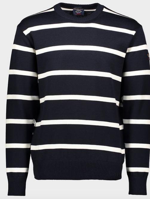 PAUL&SHARK: Pull BRETAGNE à col rond à rayures en laine Mérinos C0P1031