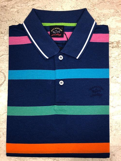 PAUL&SHARK: polo manches courtes, à rayures bleu, 11150b