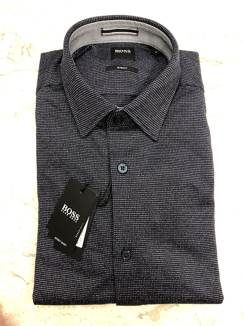 HUGO BOSS: chemise manches longues, cotton, slim fit, fantaisie navy, 02215