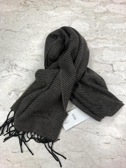 ARMANI: Echarpe en laine, noire&taupe 12365b