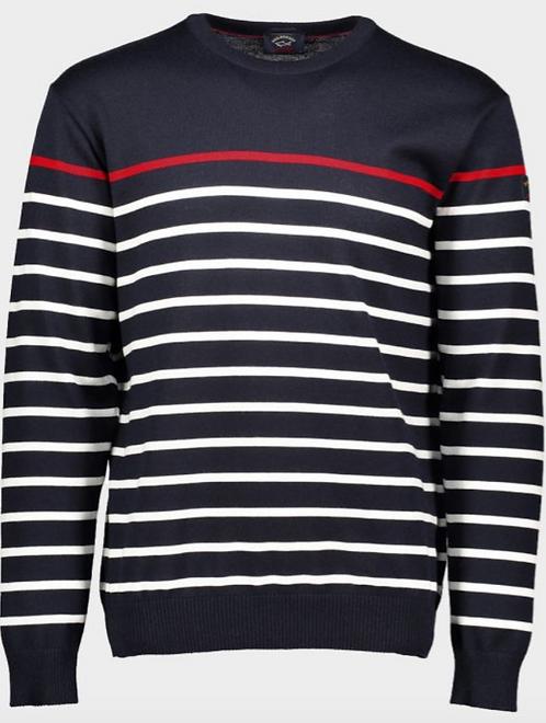 PAUL&SHARK: Pull à col rond à rayures en laine Mérinos C0P1046-300