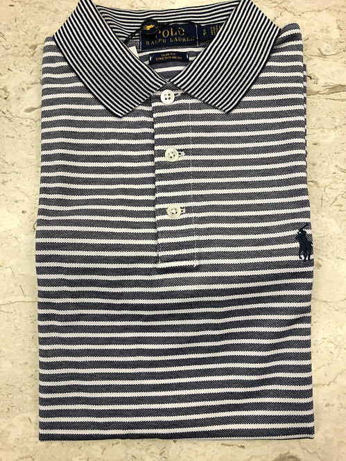 Copie de POLO RALPH LAUREN: POLO, cotton stretch, rayures navy, 11127e