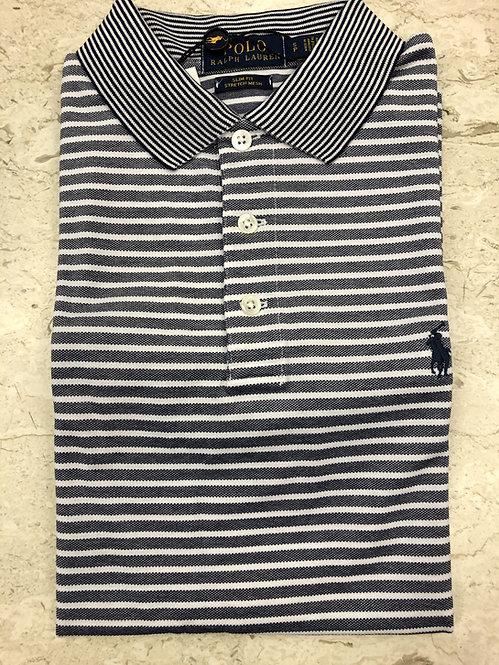 POLO RALPH LAUREN: POLO, cotton stretch, rayures navy, 11127e