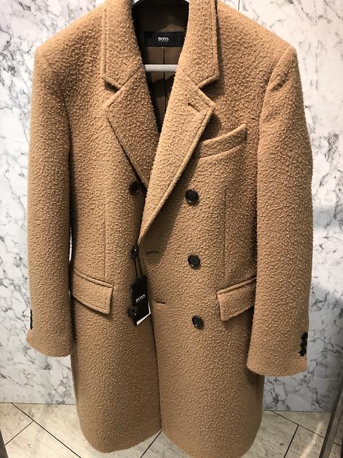 HUGO BOSS: Manteau croisé CAMEL, structure blouclée, laine et alpaca 82293