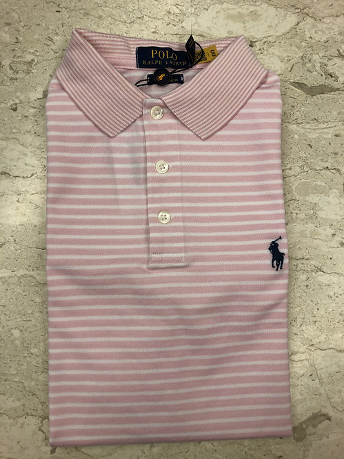 POLO RALPH LAUREN: POLO, cotton stretch, rayures ROSE, 11127F