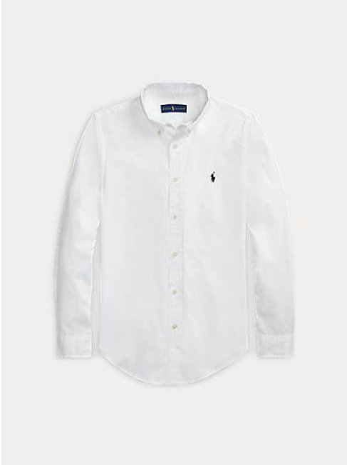 POLO RALPH LAUREN JUNIOR Chemise Oxford BLANCHE ajustée