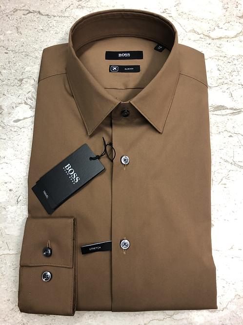 HUGO BOSS: chemise cotton, slim fit, travel, camel, 02220