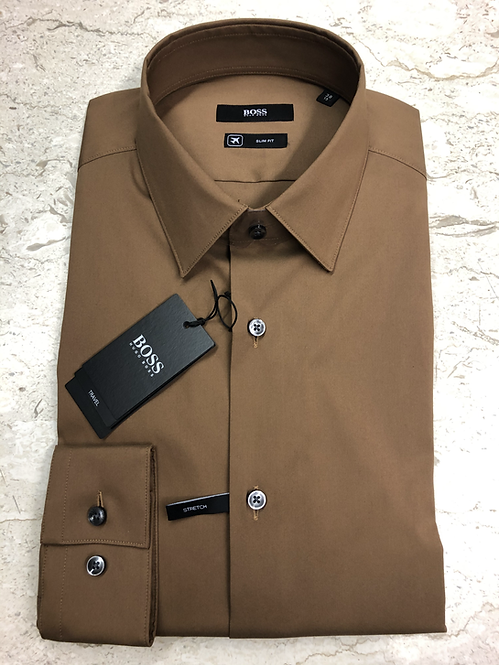 HUGO BOSS: chemise cotton, slim fit, travel, camel, 02220