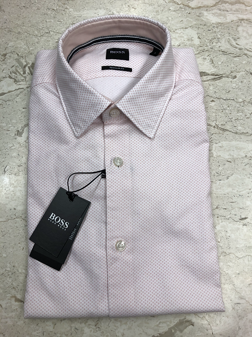 HUGO BOSS: chemise manches longues,100% cotton,modern fit, fantaisie rose, 02212