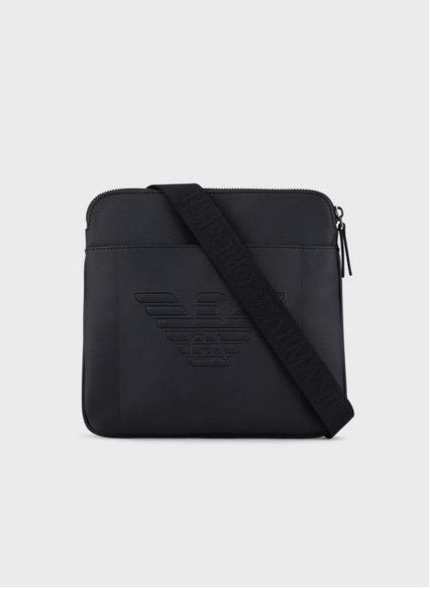 EMPORIO ARMANI Petit sac NAVY à bandoulière plat avec maxi logo aigle