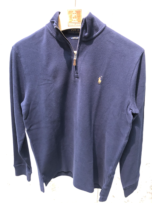POLO RALPH LAUREN: Pull half-zip, cotton, NAVY, 92R400