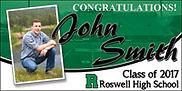 Graduation banner for a guy fom Roswel High School