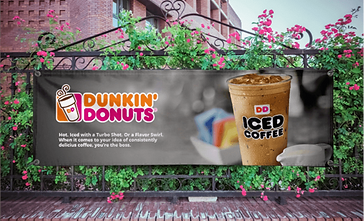 Horizontal banner advertising Dunkin' Donuts iced coffee