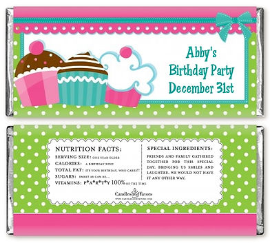 Pink and green labels made for a birthday party