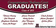 Graduation banner celebrating  graduates from Alpharetta High School that live in Bethany Court