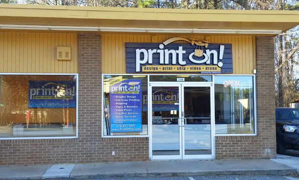 Picture of the print on store front.
