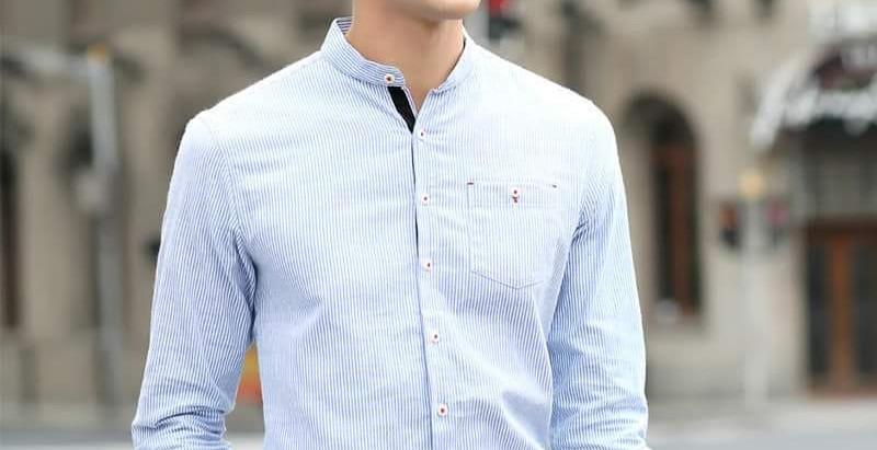 Мужские рубашки с воротником-стойкой