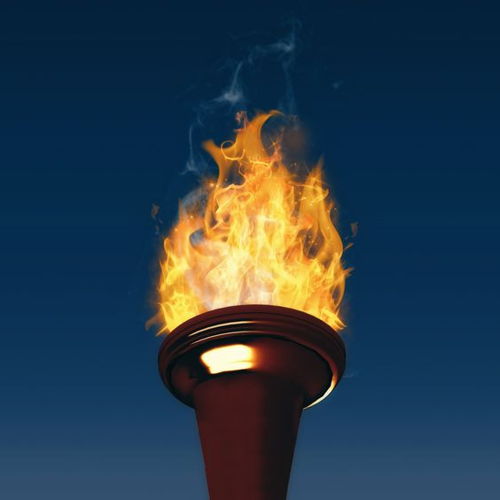 This image shows the the torch carried during Olympic games