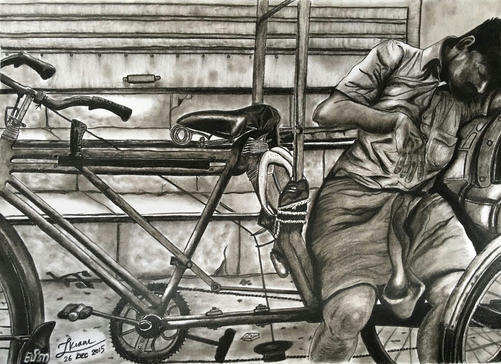 Rickshaw man on a hot summer afternoon i