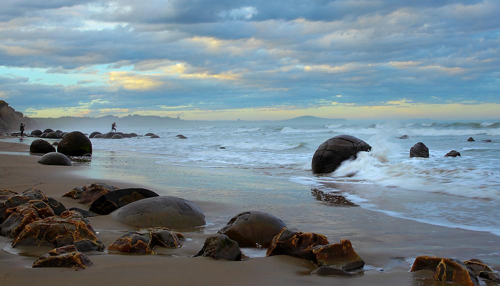 Scenic Moeraki Boulders at high tide