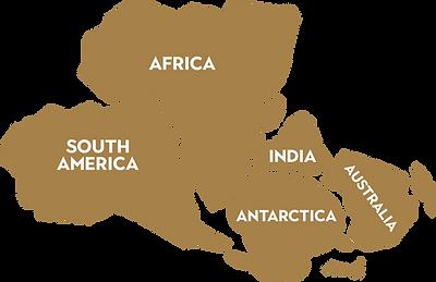 Graphic llustartion of supercontinent Gondwana