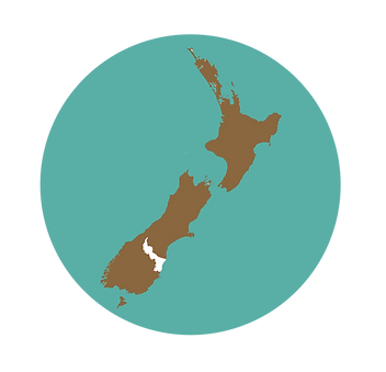 Graphic illustration of New Zealand highligtes Waitaki District