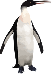 Graphic illustraton of ancient, tall penguin