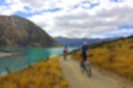 Cyclists on the scenic Alps2Ocoean cycle trail