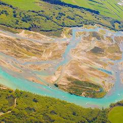 Bird-eye view of braided Waitaki river