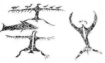 Maori rock art drawings