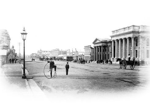 Victorian times Oamaru street with pennyfarthing