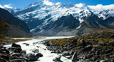 Snowy mountain and glacial water