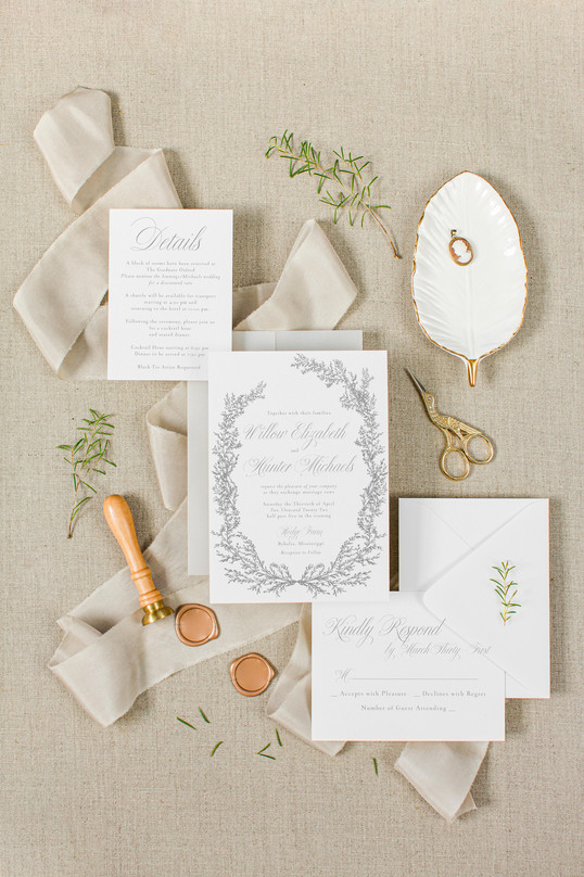 Natural Gold and Gray Wedding Invitaion Flatlay Mockup Bundle _ Bret and Brandie Stock Col