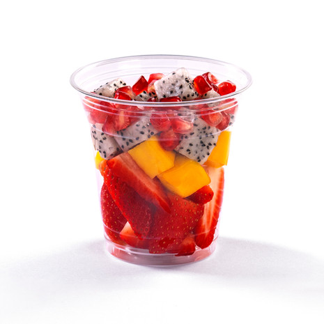 Fruit cup with mango, dragon fruit and pomegrante