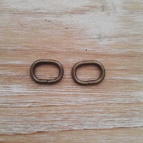 Cierre oval oro viejo 20mm. 2 unidades