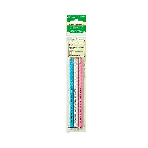 Lápiz CLOVER  soluble en agua. 3 lápices azul, blanco y rosa
