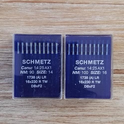 Aguja industrial 1738 A LR para piel (10 agujas)