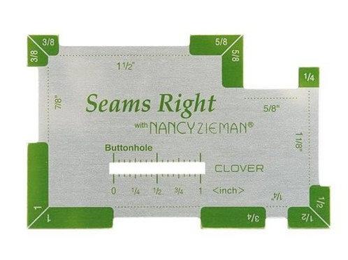 Regla metalica Clover Nancy Zieman con pulgadas