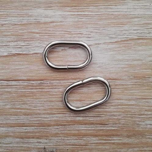 Cierre oval plata 25mm. 2 unidades