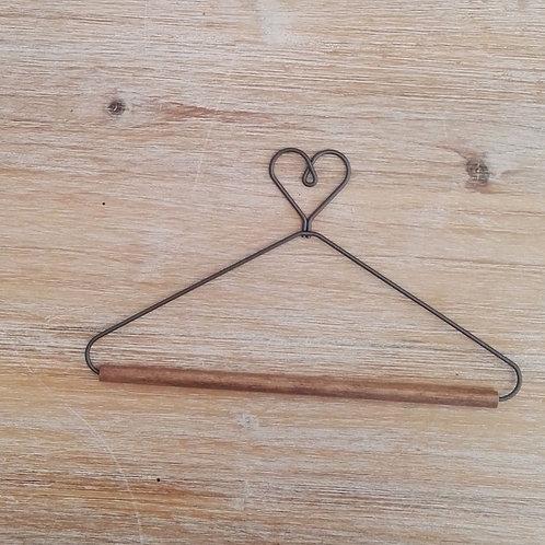 Percha metalica y madera corazon varias medidas