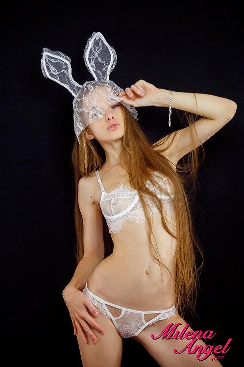 White Bunny Lace Set